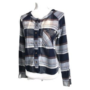 BDG Top Cropped Blue Plaid Long Sleeve Button